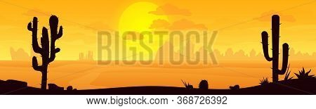 Desert Landscape With Mountains, Sunrise. Desert Bundle In Cartoon Style