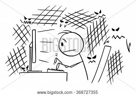 Vector Cartoon Stick Figure Drawing Conceptual Illustration Of Frightened Or Stressed Man, Journalis