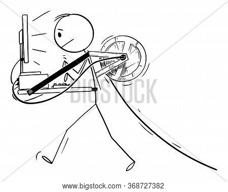 Vector Cartoon Stick Figure Drawing Conceptual Illustration Of Walking Man Or Businessman Carrying D