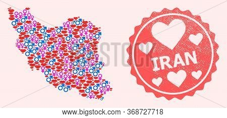 Vector Collage Of Love Smile Map Of Iran And Red Grunge Seal With Heart. Map Of Iran Collage Designe
