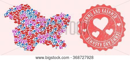 Vector Collage Of Sexy Smile Map Of Jammu And Kashmir State And Red Grunge Seal With Heart. Map Of J
