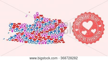 Vector Collage Of Sexy Smile Map Of Kaliningrad Region And Red Grunge Stamp With Heart. Map Of Kalin