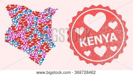 Vector Combination Of Love Smile Map Of Kenya And Red Grunge Seal Stamp With Heart. Map Of Kenya Col