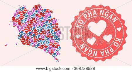 Vector Collage Of Love Smile Map Of Ko Pha Ngan And Red Grunge Stamp With Heart. Map Of Ko Pha Ngan