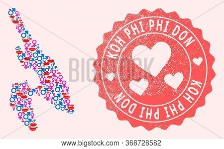 Vector Collage Of Love Smile Map Of Koh Phi Don And Red Grunge Seal With Heart. Map Of Koh Phi Don C