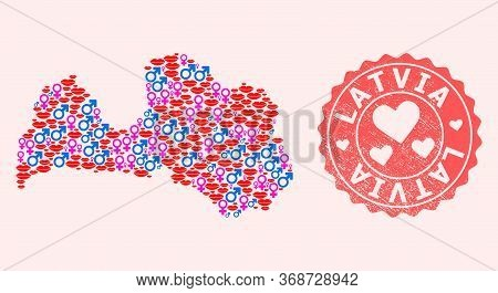 Vector Composition Of Love Smile Map Of Latvia And Red Grunge Seal With Heart. Map Of Latvia Collage