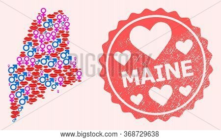Vector Collage Of Love Smile Map Of Maine State And Red Grunge Stamp With Heart. Map Of Maine State