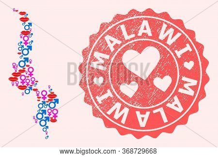 Vector Collage Of Love Smile Map Of Malawi And Red Grunge Seal With Heart. Map Of Malawi Collage For