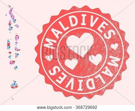 Vector Collage Of Sexy Smile Map Of Maldives And Red Grunge Seal Stamp With Heart. Map Of Maldives C