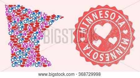 Vector Collage Of Sexy Smile Map Of Minnesota State And Red Grunge Stamp With Heart. Map Of Minnesot