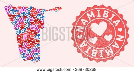 Vector Collage Of Love Smile Map Of Namibia And Red Grunge Seal With Heart. Map Of Namibia Collage C