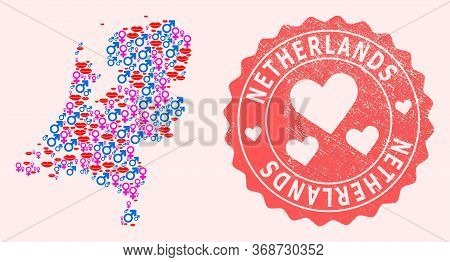 Vector Collage Of Love Smile Map Of Netherlands And Red Grunge Stamp With Heart. Map Of Netherlands