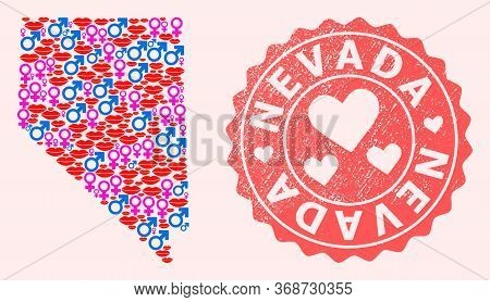 Vector Collage Of Love Smile Map Of Nevada State And Red Grunge Stamp With Heart. Map Of Nevada Stat