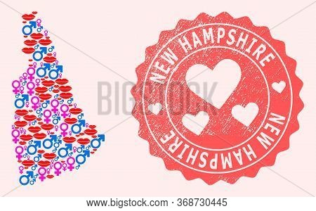 Vector Collage Of Love Smile Map Of New Hampshire State And Red Grunge Stamp With Heart. Map Of New