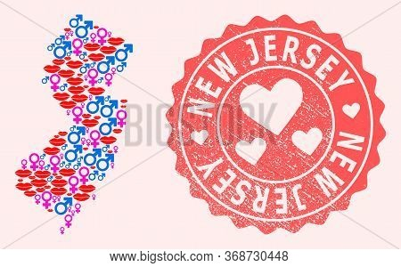Vector Collage Of Sexy Smile Map Of New Jersey State And Red Grunge Stamp With Heart. Map Of New Jer