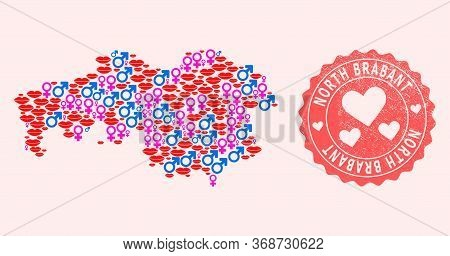 Vector Collage Of Love Smile Map Of North Brabant Province And Red Grunge Stamp With Heart. Map Of N