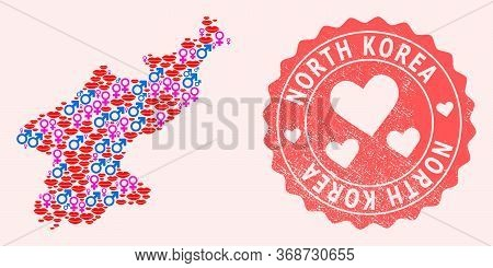 Vector Composition Of Love Smile Map Of North Korea And Red Grunge Seal Stamp With Heart. Map Of Nor