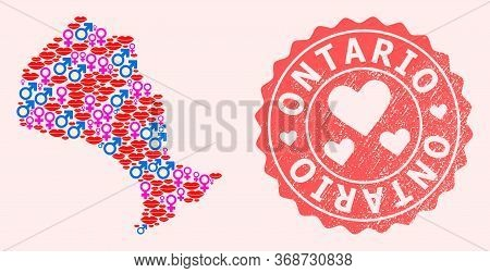 Vector Collage Of Sexy Smile Map Of Ontario Province And Red Grunge Stamp With Heart. Map Of Ontario