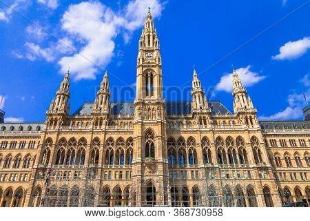 Vienna capital, impressive gothic architecture of City hall. Symbol of Vienna. Travel and landmarks of Austria