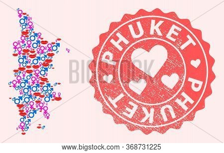 Vector Collage Of Sexy Smile Map Of Phuket And Red Grunge Stamp With Heart. Map Of Phuket Collage De