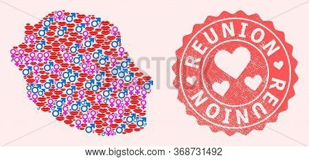 Vector Collage Of Sexy Smile Map Of Reunion Island And Red Grunge Stamp With Heart. Map Of Reunion I
