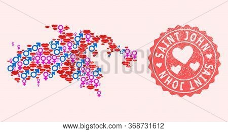 Vector Composition Of Love Smile Map Of Saint John Island And Red Grunge Seal With Heart. Map Of Sai