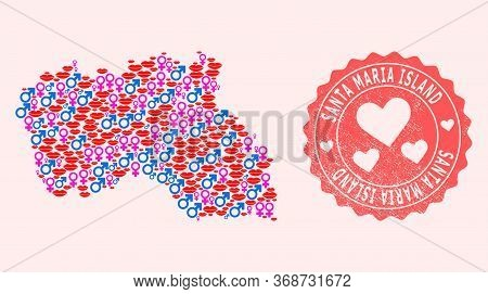Vector Combination Of Love Smile Map Of Santa Maria Island And Red Grunge Seal Stamp With Heart. Map