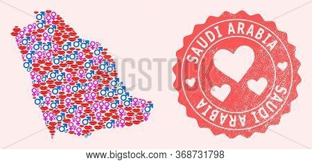 Vector Collage Of Sexy Smile Map Of Saudi Arabia And Red Grunge Seal Stamp With Heart. Map Of Saudi