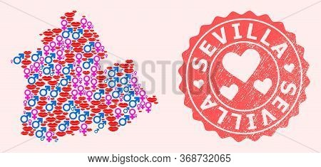 Vector Collage Of Love Smile Map Of Sevilla Province And Red Grunge Seal Stamp With Heart. Map Of Se
