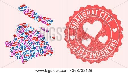 Vector Collage Of Love Smile Map Of Shanghai Municipality And Red Grunge Stamp With Heart. Map Of Sh
