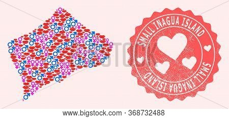 Vector Collage Of Love Smile Map Of Small Inagua Island And Red Grunge Stamp With Heart. Map Of Smal