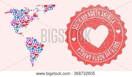 Vector Combination Of Love Smile Map Of South And North America And Red Grunge Seal Stamp With Heart
