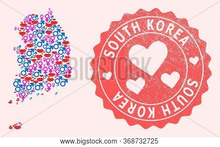 Vector Collage Of Love Smile Map Of South Korea And Red Grunge Stamp With Heart. Map Of South Korea