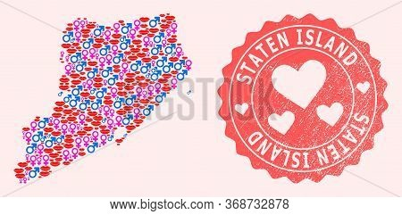 Vector Collage Of Love Smile Map Of Staten Island And Red Grunge Seal With Heart. Map Of Staten Isla