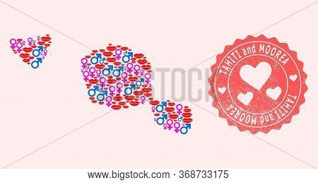 Vector Combination Of Love Smile Map Of Tahiti And Moorea Islands And Red Grunge Seal Stamp With Hea