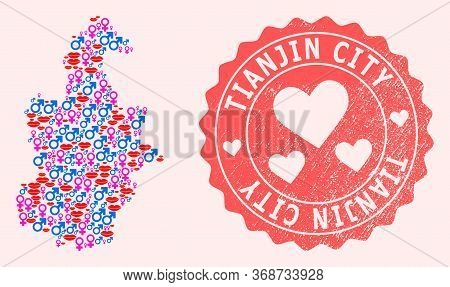 Vector Collage Of Love Smile Map Of Tianjin Municipality And Red Grunge Seal With Heart. Map Of Tian