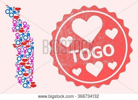 Vector Combination Of Love Smile Map Of Togo And Red Grunge Seal With Heart. Map Of Togo Collage Cre