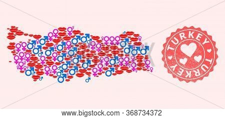 Vector Collage Of Love Smile Map Of Turkey And Red Grunge Seal With Heart. Map Of Turkey Collage Des