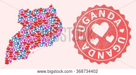 Vector Collage Of Sexy Smile Map Of Uganda And Red Grunge Stamp With Heart. Map Of Uganda Collage Co