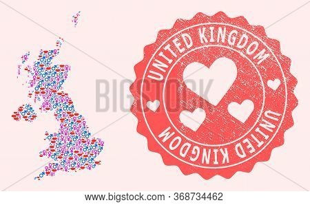 Vector Combination Of Sexy Smile Map Of United Kingdom And Red Grunge Seal Stamp With Heart. Map Of