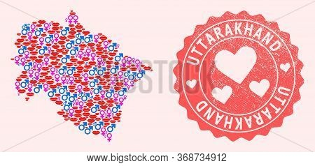 Vector Composition Of Sexy Smile Map Of Uttarakhand State And Red Grunge Seal With Heart. Map Of Utt