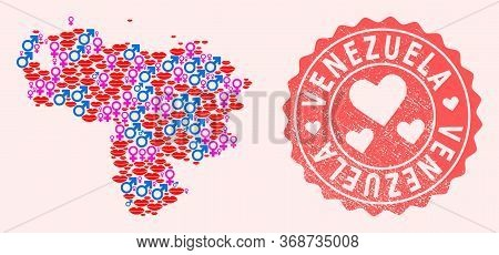 Vector Composition Of Love Smile Map Of Venezuela And Red Grunge Seal Stamp With Heart. Map Of Venez