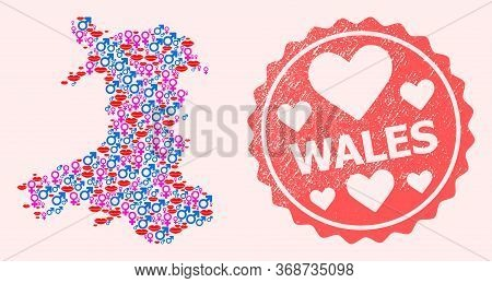 Vector Collage Of Love Smile Map Of Wales And Red Grunge Seal With Heart. Map Of Wales Collage Forme