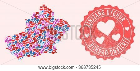Vector Composition Of Love Smile Map Of Xinjiang Uyghur Region And Red Grunge Stamp With Heart. Map
