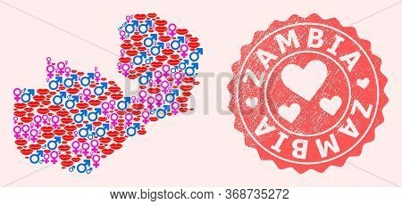 Vector Collage Of Love Smile Map Of Zambia And Red Grunge Stamp With Heart. Map Of Zambia Collage De