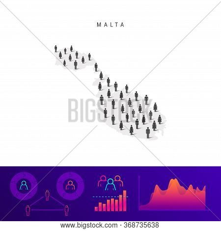 Maltese People Icon Map. Detailed Vector Silhouette. Mixed Crowd Of Men And Women. Population Infogr