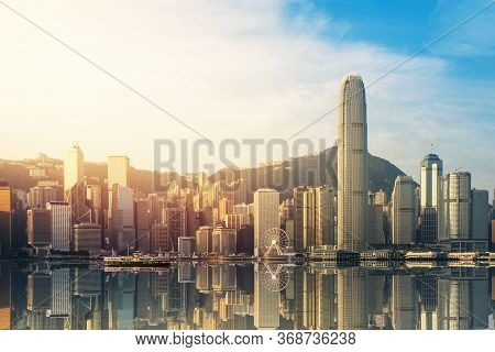 Beautiful View Of Hong Kong Victoria Harbour In Sunrise