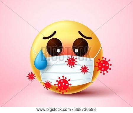 Emoji Infected Of Covid-19 Coronavirus. Emoji Emoticon Wearing Face Mask Infected And Exposed In 201