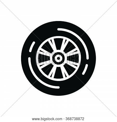 Black Solid Icon For Wheel  Tyre Rubber  Vehicle Motor