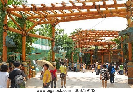 Sentosa, Sg - April 5 - Universal Studios Singapore Jurassic Park Theme On April 5, 2012 In Sentosa,